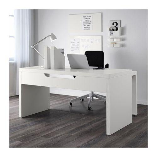 Malm scrivania con piano estraibile bianco scrivanie pinterest desk ikea e home office for Ikea malm scrivania