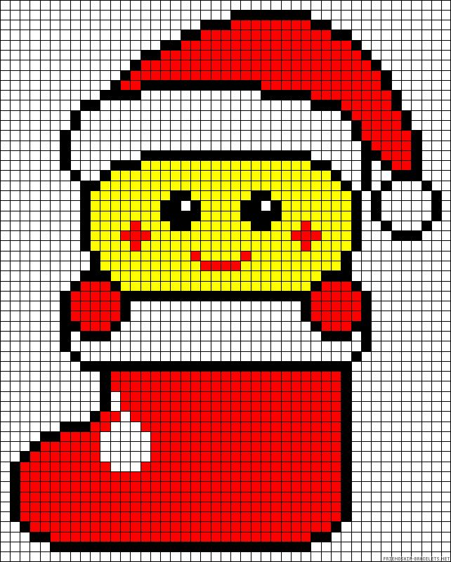 Smiley Christmas perler bead pattern