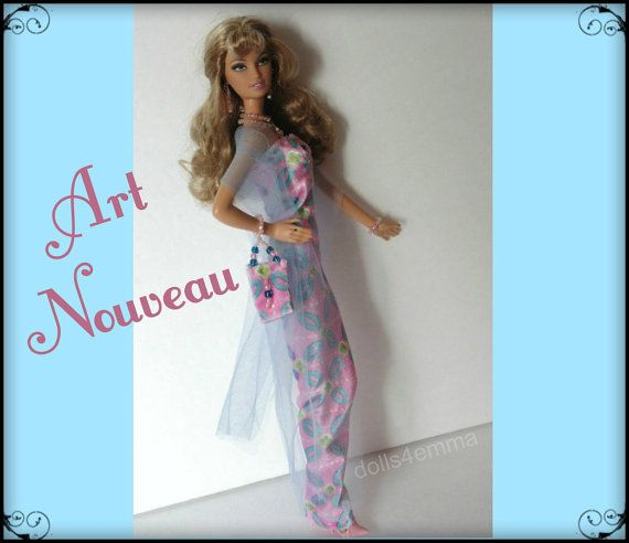 OOAK Model Muse Barbie / Fashion Royalty Doll kleding - Hand-Beaded Gown, portemonnee en sieraden Set - aangepaste Fashion - door dolls4emma
