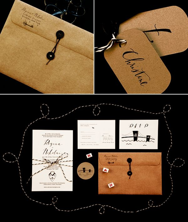 envelope: Ideas, Kraft Paper, Brown Paper, Hands Drawn Types, Wedding Invitations, Black White, Identity Brand, Design, Crafts