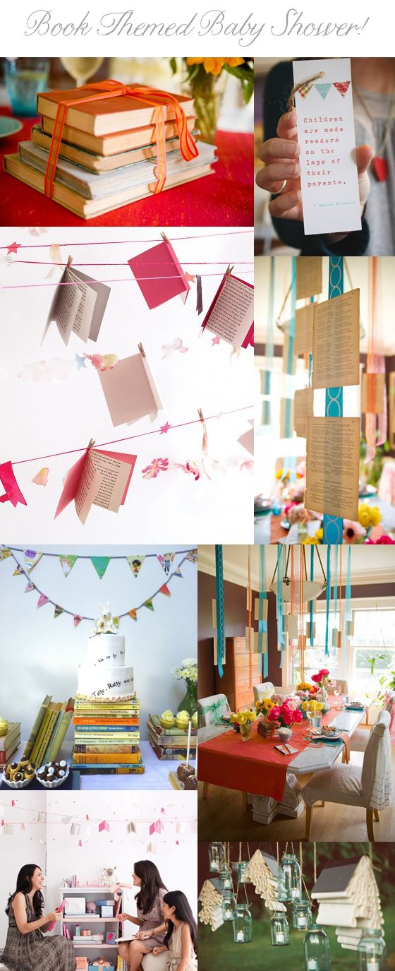 Book themed baby shower - some cute ideas ... I like the book pages hanging from the ceiling!
