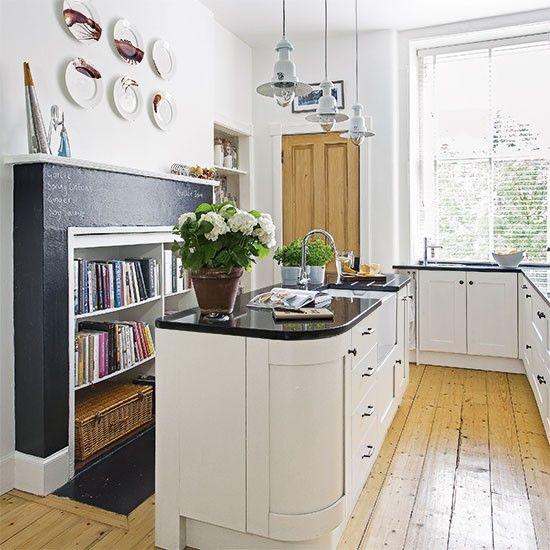 Monochrome kitchen with wood flooring | Kitchen decorating | Beautiful Kitchens | Housetohome.co.uk