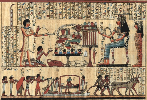 Papyrus egyptian painting egyptian papyrus pinterest for Egyptian mural art