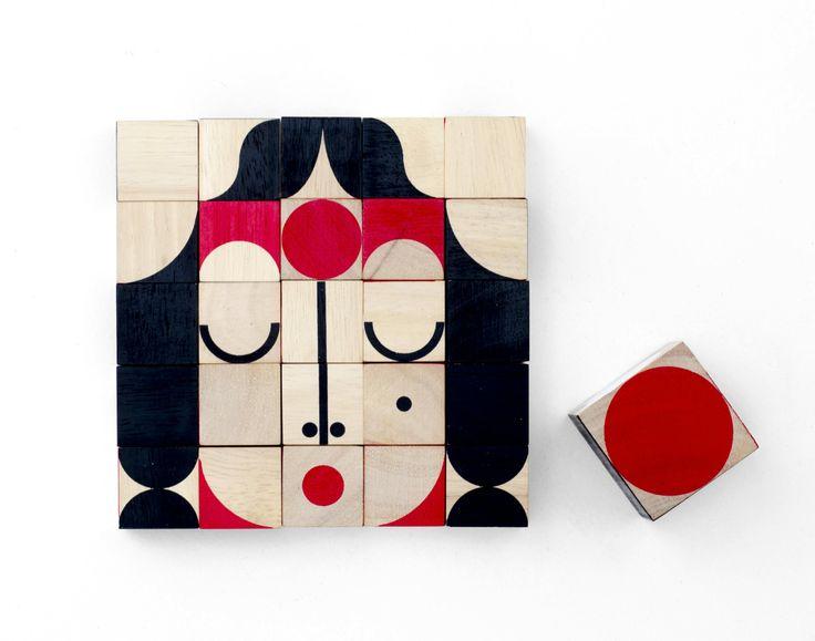 Faceshape , cubi in legno per formare tante simpatiche e originali facce
