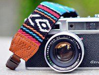 This retro tribal camera strap, discovered by The Grommet, has a textured woven feel, and backing made of neoprene providing a lightweight padding.