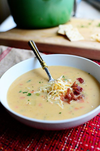 Pioneer Woman's Potato Soup Recipe. Omit bacon & sub vegetable broth for the chicken broth to make vegetarian.