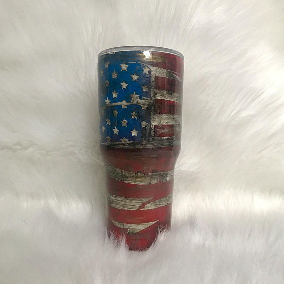 Distressed American Flag Tumbler Weathered Flag Tumbler
