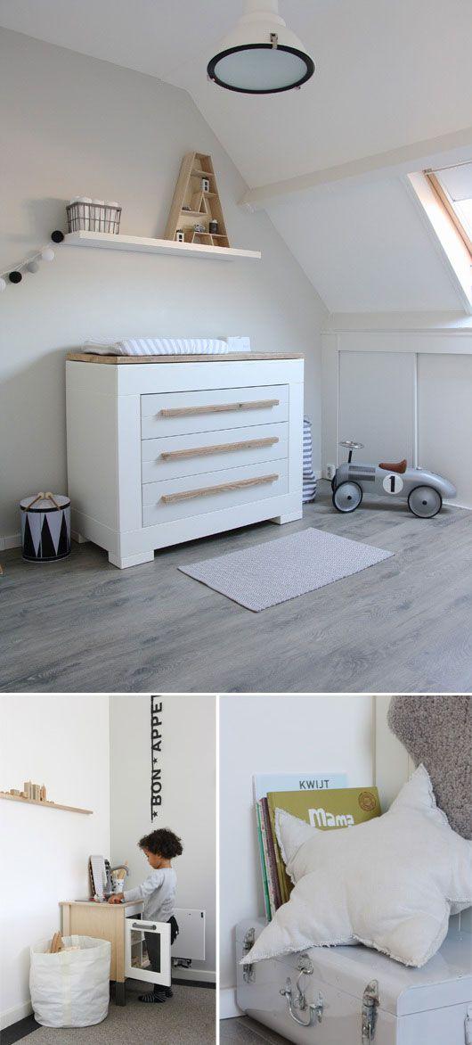 white gray black + wood nursery | modern white changing table | long wood drawer pulls | cozy linen star pillow | white + black farmhouse pendant light & accents