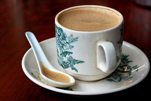 "Ipoh White Coffee (Malaysia). 'Ipoh ""white"" coffee is a popular coffee drink which originated in Ipoh. The coffee beans are roasted with palm-oil margarine, and the resulting coffee is served with condensed milk.' http://www.lonelyplanet.com/malaysia/peninsular-malaysia-west-coast/ipoh"