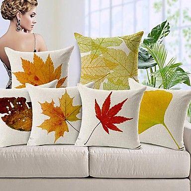 set van 6 herfstbladeren katoen / linnen decoratieve kussenslopen - EUR € 85.99