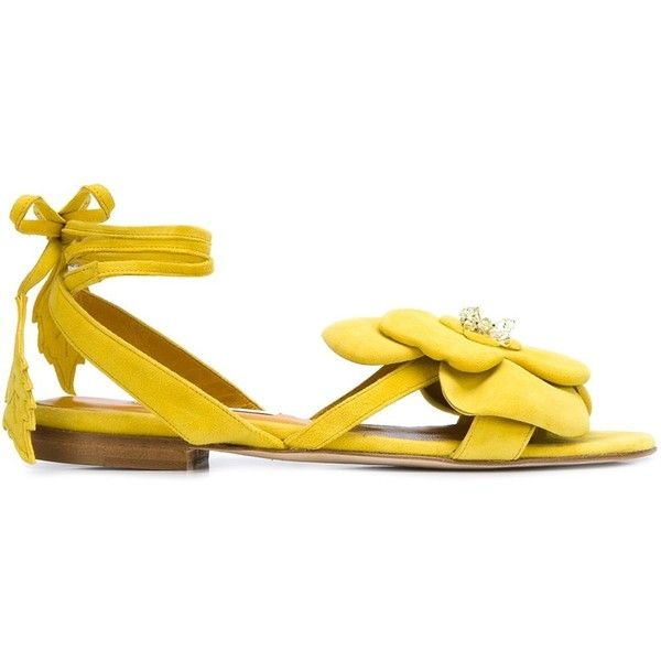 Olgana Flower Detail Sandals (18,295 INR) ❤ liked on Polyvore featuring shoes, sandals, yellow sandals, blossom shoes, suede sandals, flower shoes and flower sandals
