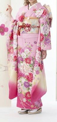 pink kimono with flower patterns