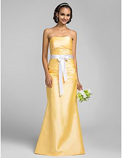 trompete / sereia sem alças do assoalho-comprimento tafetá vestido de dama de honra (663.679)