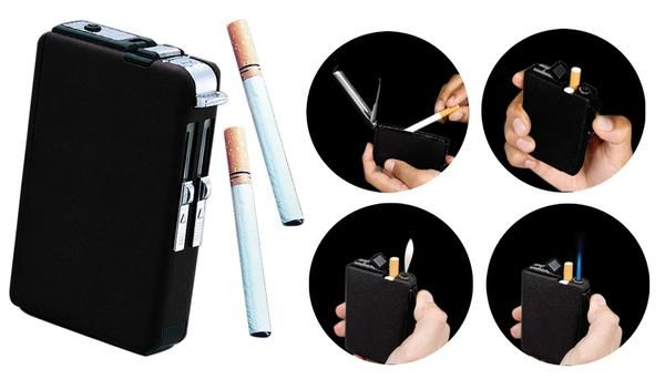 CIGARETTE CASE WITH BUILT-IN LIGHTER (2 STYLE FLAMES) $12.90  buy nw