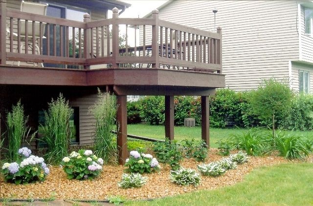 35 best images about landscaping around deck on pinterest for Landscaping ideas around deck
