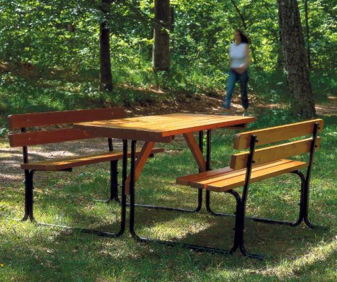 Picnicbänk stål/trä kanellasyr