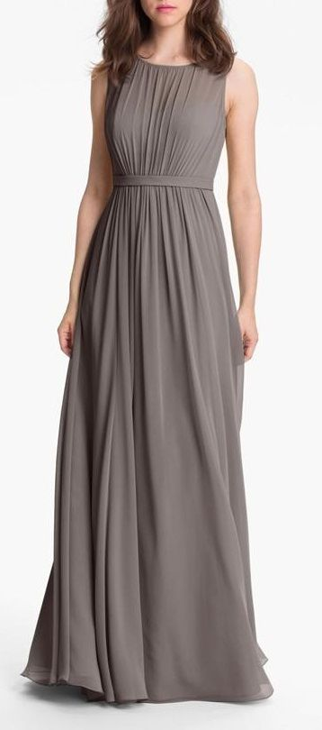 Jenny Yoo 'Vivienne' Pleated Chiffon Gown Be great for a bridesmaids dress just add a sparkly belt or brooch.