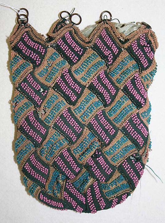 Bag - late 18th-early 19th century (That sure looks like entrelac knitting to me...)