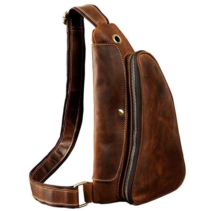 c98eef284540 Le aokuu Leather Sling Bag Cycling One Shoulder Strap Bag Backpack Waist  Chest Bag Pack (1-9976 dark brown) Review