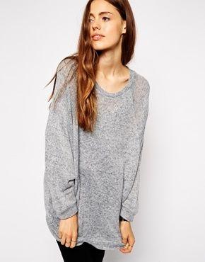 €52, Jersey Oversized de Punto Gris de Asos. De Asos. Detalles: https://lookastic.com/women/shop_items/124175/redirect