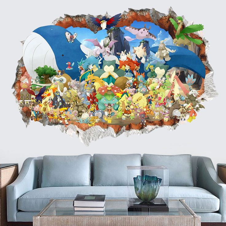 Creative Removable 3d Pokemon Wall Stickers For Kids Rooms Self Adhesive  Baby Decals Living Room Part 70