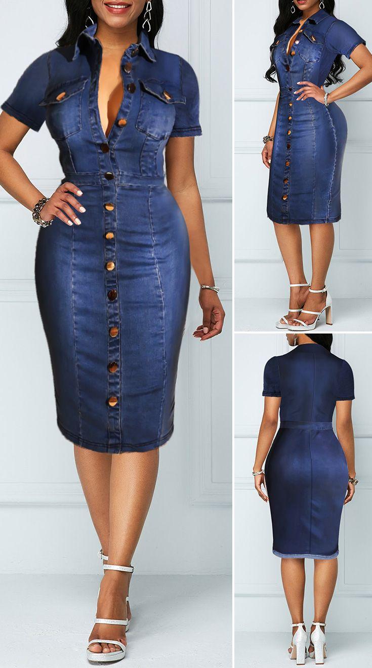 Rotita Com Usd 35 98 In 2021 Denim Dress Outfit Womens Denim Dress Long Denim Dress [ 1320 x 735 Pixel ]