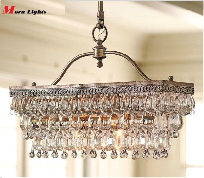 Rectangular Chandelier pendant for over the kitchen sink and bar area. 55cm x 25cm Antique Rectangular crystal K9 chandelier , crystal american style modern brief of luxury  pendant chandelier light-inChandelier...