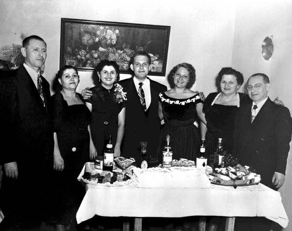 Engagement of Rela Schuster and Julio Schniadoski - Havana, Cuba December 6, 1952. L-R: Leon Schuster, Genandel Schuster, Rela Schuster Schniadoski, Julio Schniadoski, Batia Schniadoski, Sarah Schniadoski, and Benjamin Schniadoski.