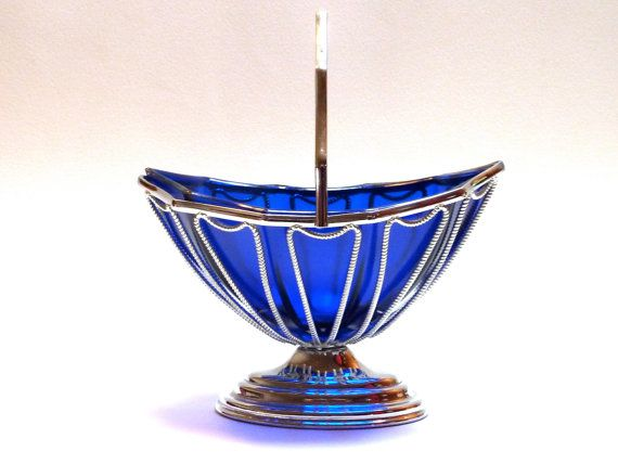 cobolt blue glass and chrome bonbon dish