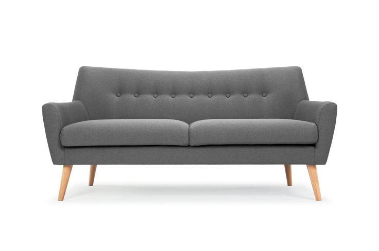 Henley, 3-seater sofa, Stella steel, oak legs
