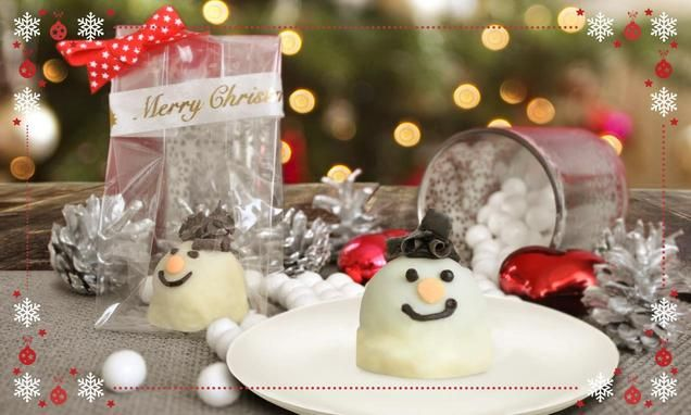 recipe-Palline di torta a forma di pupazzo di neve ricoperte di cioccolato bianco