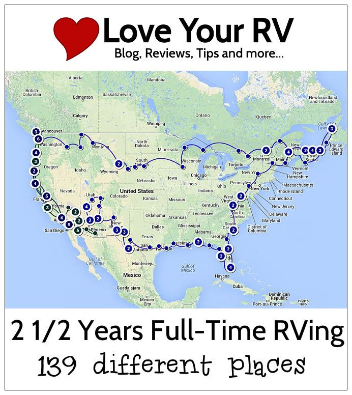 In our 2 1/2 years living in the RV we have visited 139 different places. We are still just as thrilled to hit the road as ever. Follow along at http://www.loveyourrv.com #RV #RVing #Fulltime
