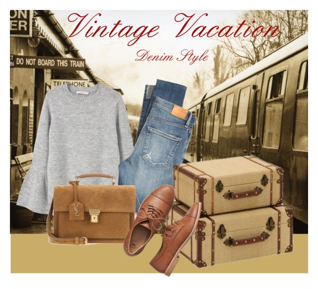 """vintage vacation denim"" by oripandora on Polyvore featuring MANGO, Citizens of Humanity, Yves Saint Laurent, Gap and vintage"