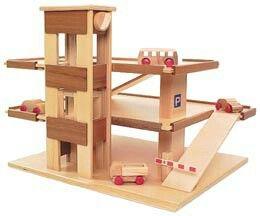 Wooden toy garage
