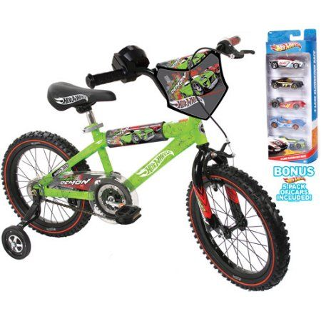 16 Inch Hot Wheels Boys Bike With Set Of 5 Cars Green Hot