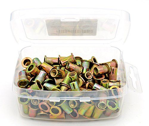"iExcell 100 Pcs 1/4 - 20UNC Yellow Zinc Plated Carbon Steel Rivet Nut Flat Head Insert Nutsert:   ✔ Zinc Plated Carbon Steel Rivet Nut/p✔Knurled Body for Anti-Rotation/p✔Thread Size: 1/4""-20UNC, 20 Threads Per Inch; Grip Range :0.020 ""- 0.118""/p✔Easy to Store: Rivet Nuts Come in a High-quality Plastic Box;/p"