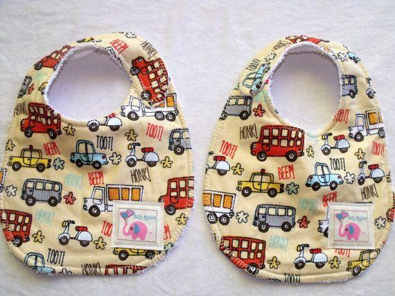 Baby Bib  boys trucks buses bikes funky toot toot by KidsAspire, $8.50