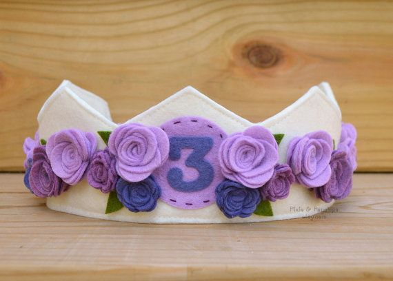 Small Felt Crown, Birthday Crown, Roses, Pink, Ivory, White, Purple, First Birthday, Smash Cake, Photo Prop