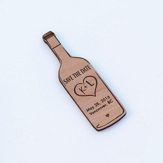 Wine Bottle Save the Date Magnets - Laser cut and Etched on Wood
