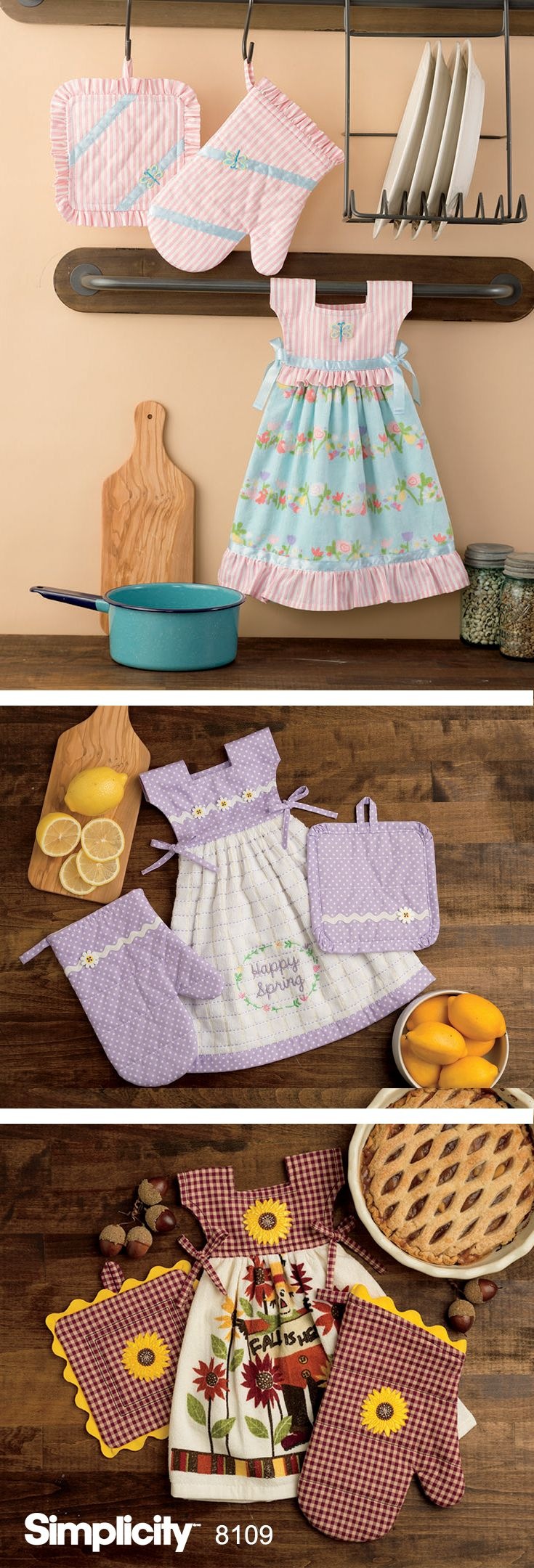 These adorable towel dresses will add some fun to your kitchen. Dresses tie over towel rack, oven door handle, or anywhere else you might need a hand towel. Miniature pot holders and oven mitts also included.