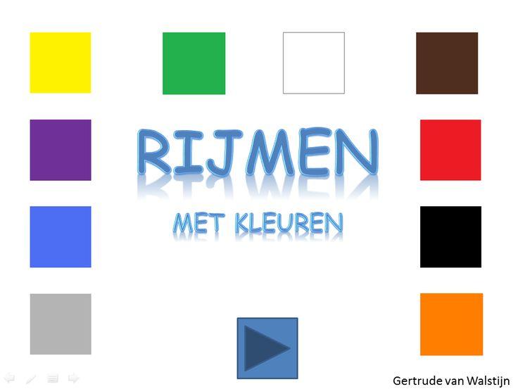 Digibordles: Rijmen met kleuren.  http://leermiddel.digischool.nl/po/leermiddel/84268ce27fc8299bb8c33d76270fd5c1