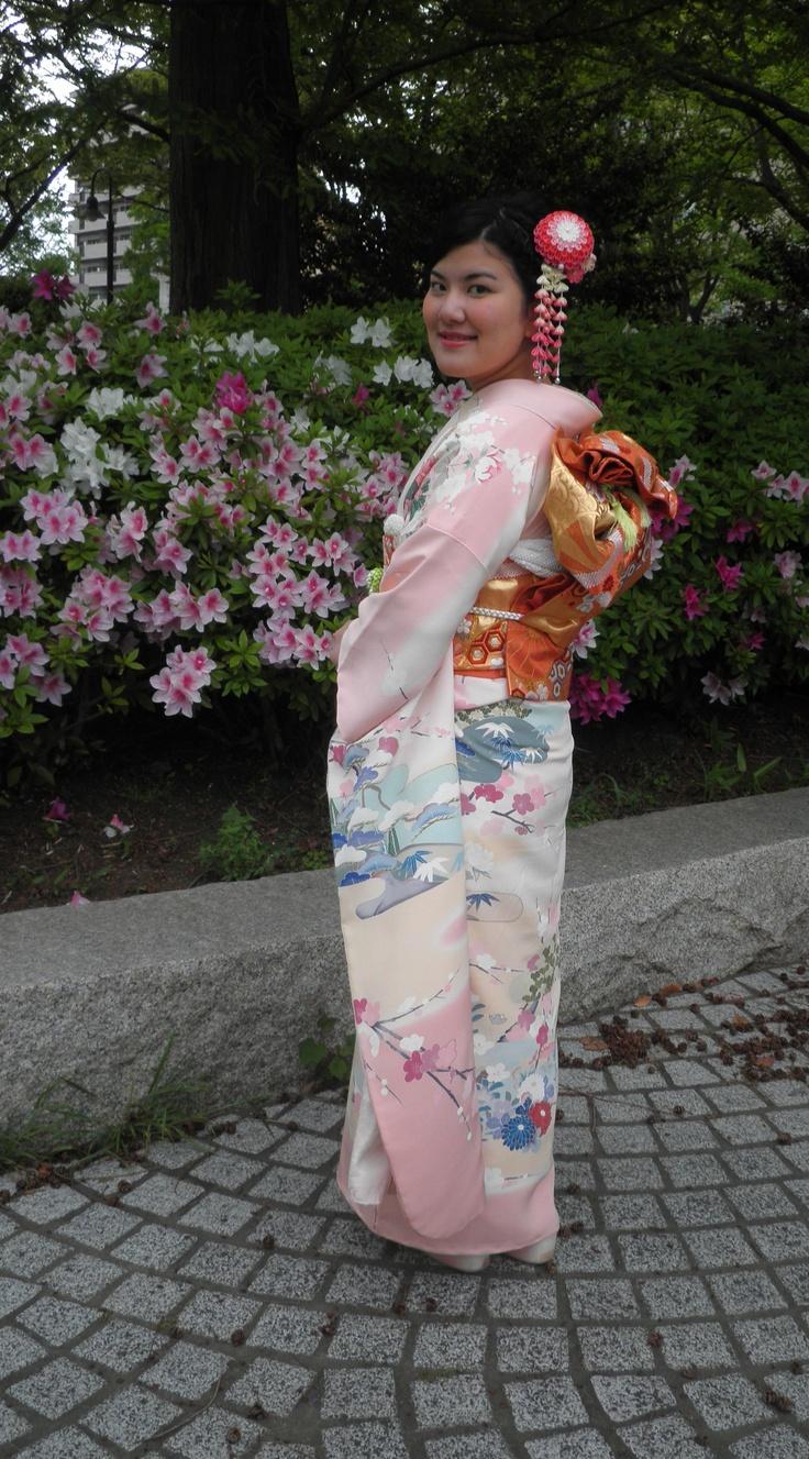 Wore special kimono of mother's