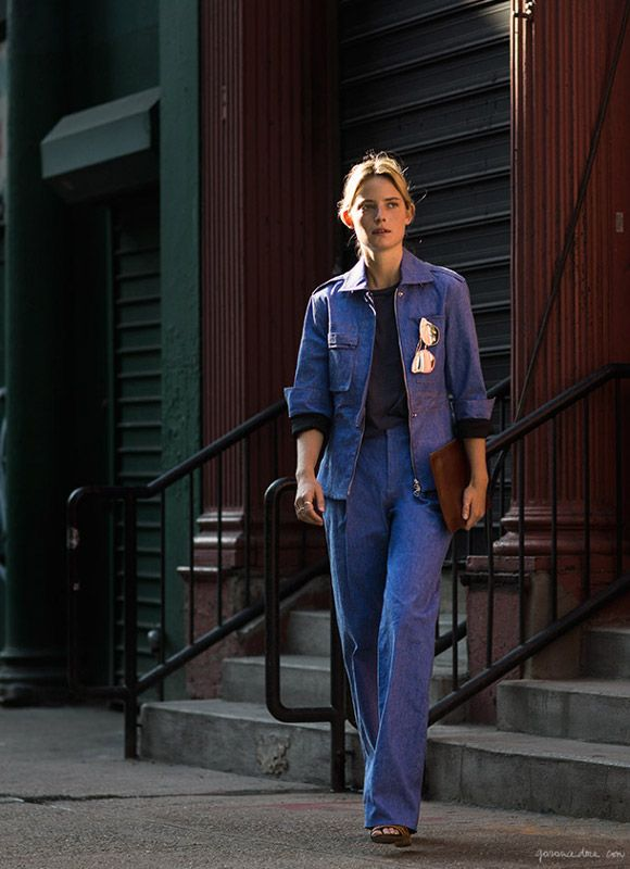Well Suited, Camilla Deterre, Womens Suite, Jean Suite, City Style, On The Go, Butterfly Sunglasses, 70's Style, Downtown / Garance Doré