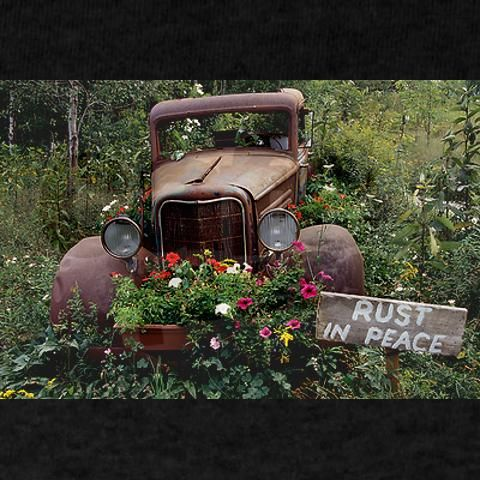 """Rust in peace""...yup, you can even use a rusty old truck for a flower pot!! So awesome!!"