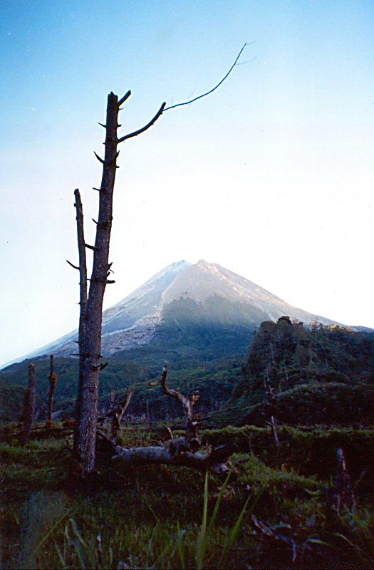 The most active volcanic mountain in Indonesia Mount Merapi - D.I Yogyakarta, Indonesia