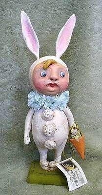 Bethany Lowe Antique inspired Folk Art Primitive Bunny Girl Debra Schoch Easter