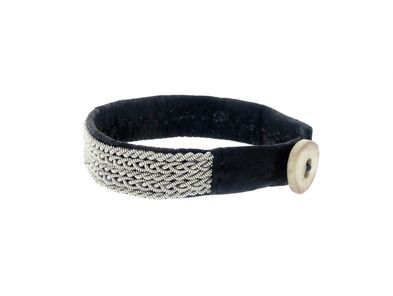 Medium Black Lapland Bracelet with Pewter by Anita Gronstedt