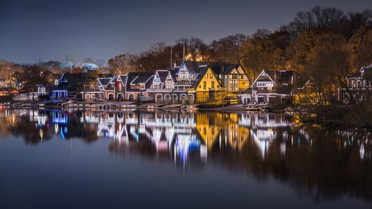 Boathouse Row, a historic site located on the East bank of the Schuylkill River - Waterworks,Philadelphia,PA,USA on November 23 2014. Photo: Eduard Moldoveanu Photography