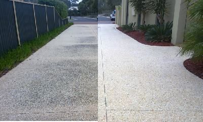 Before and after on a concrete aggregate driveway. We have all the gear to do the best job with no zebra stripes.