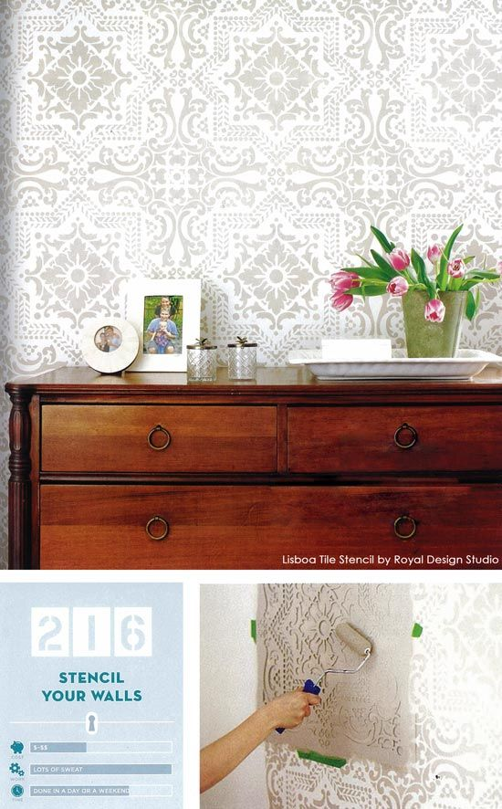 The Lisboa Tile Stencil from Royal Design Studio is a perfect way to add global, bohemian chic to your home. | Project featured in the NY Times best-selling Young House Love book!